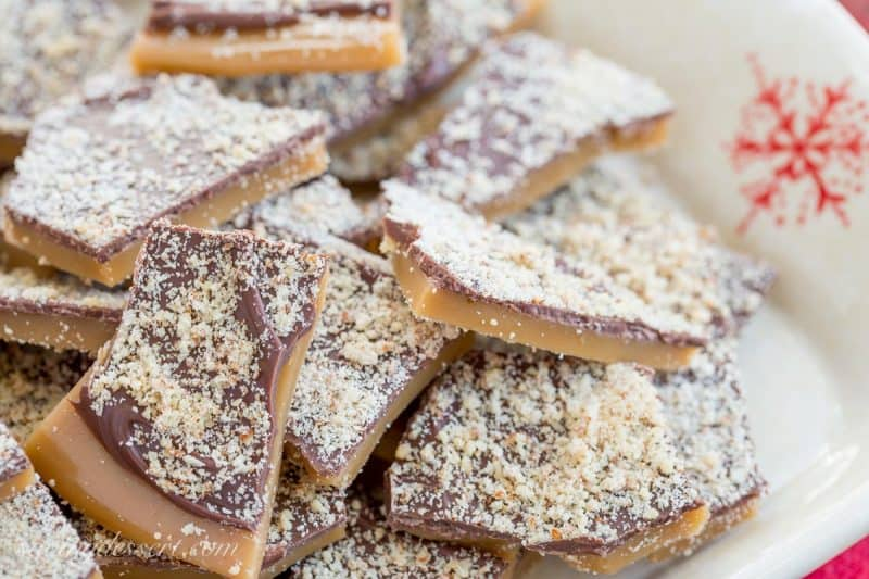 Old Fashioned English Toffee dusted with grated almonds