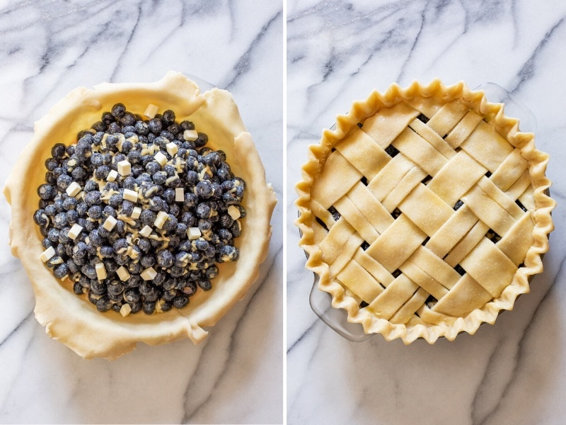 A collage of photos showing an unbaked pie made with a lattice crust