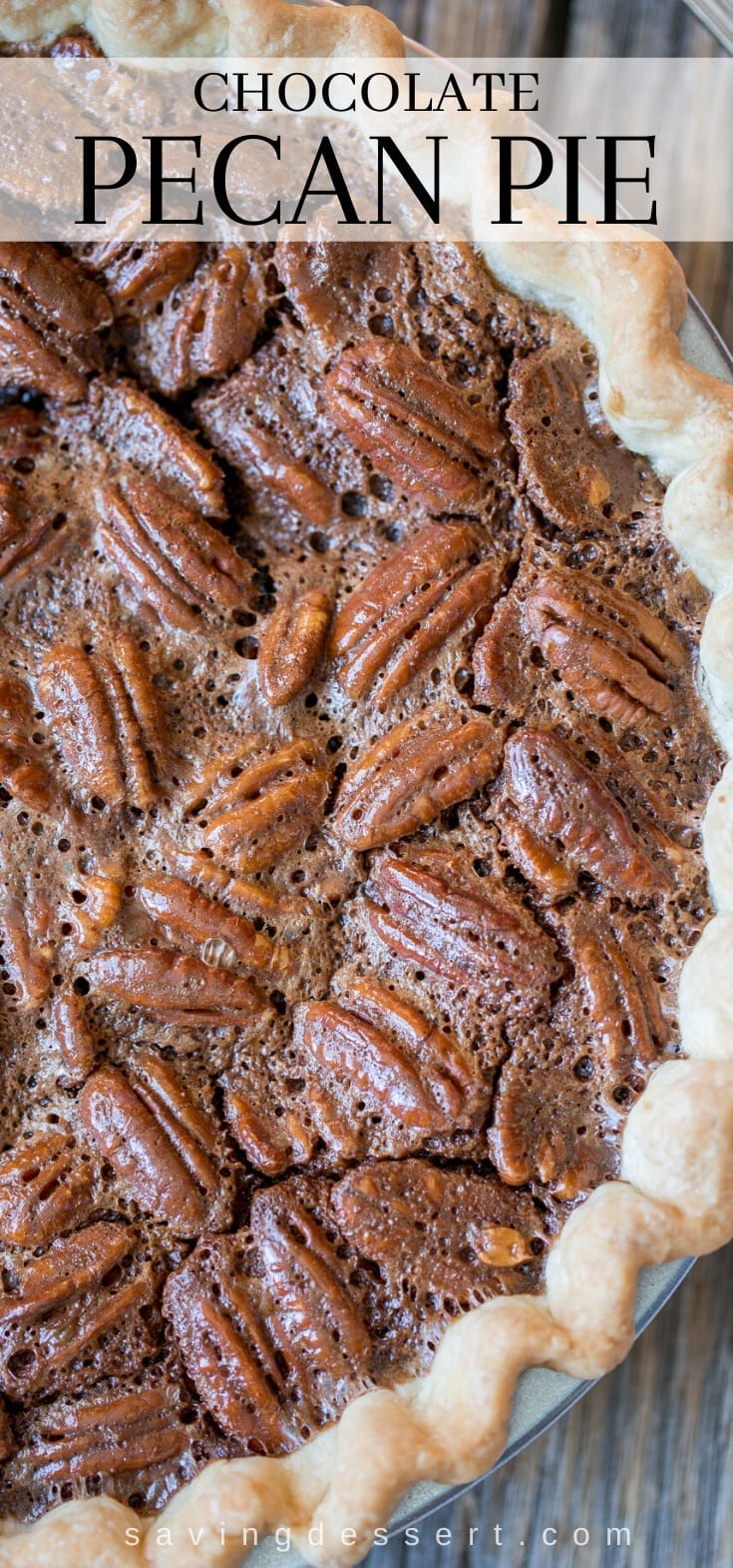 A closeup of a chocolate pecan pie