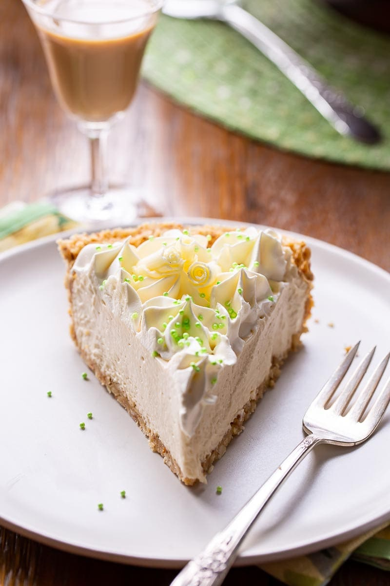 A slice of Irish Cream Pie on a plate