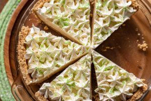 A sliced Irish Cream Pie with sprinkles