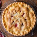 A fresh cherry pie baked to a golden brown