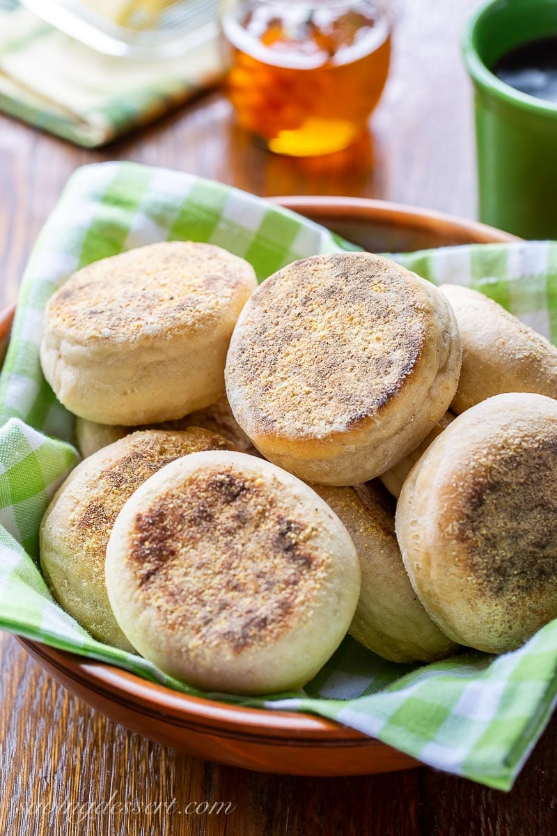 A bowl of homemade English muffins