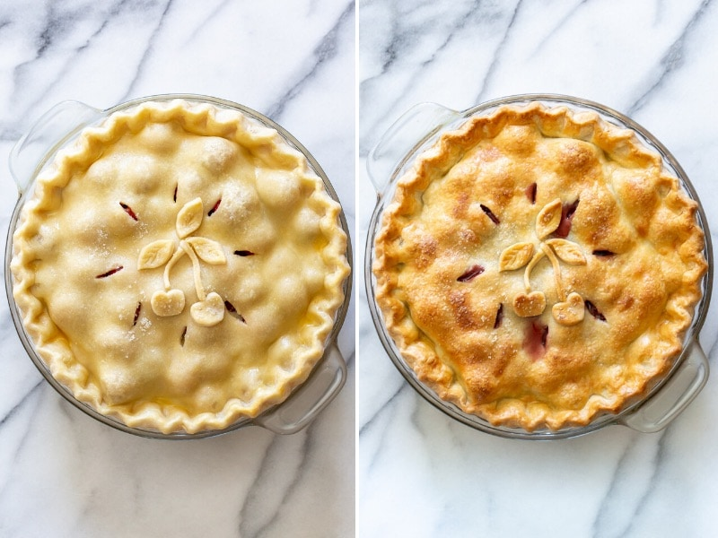a collage of two photos one with an unbaked pie and another with a baked cherry pie