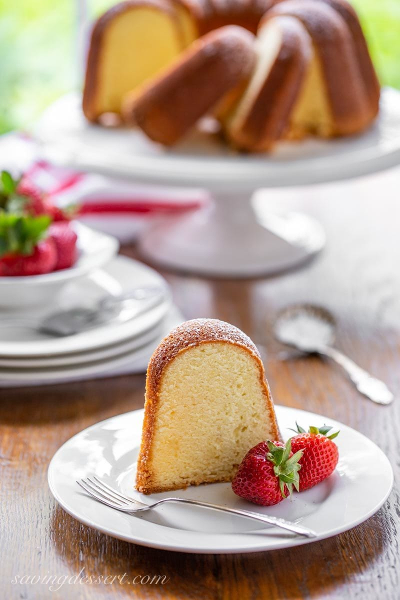 a slice of cream cheese pound cake with strawberries