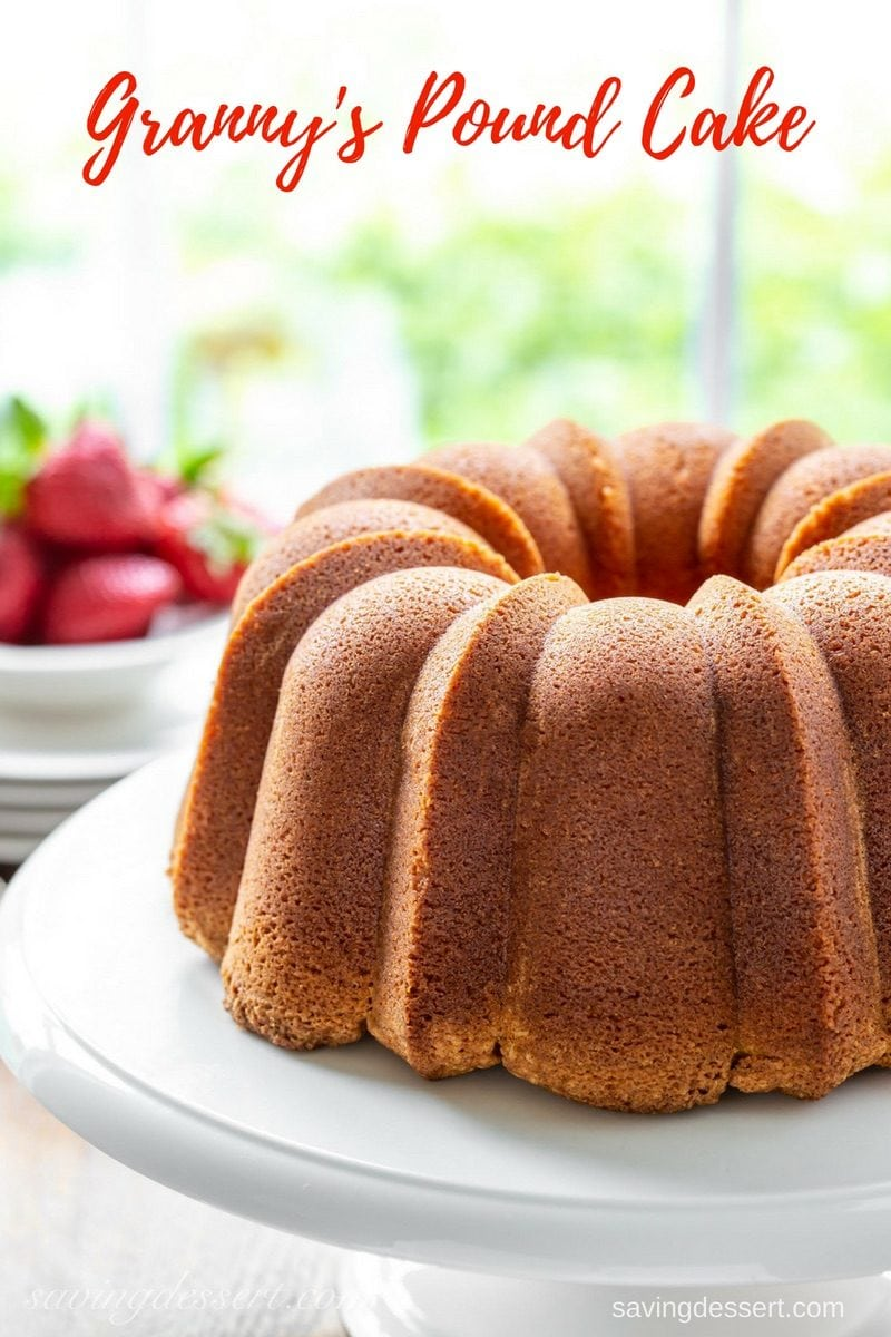 Granny's Pound Cake - Tender and never dry, with a buttery taste and incredible texture. This Pound Cake is delicious toasted or served with juicy fresh fruit, ice cream or as a layer in a trifle. This cake also freezes beautifully. #savingroomfordessert #poundcake #margarinepoundcake #creamcheesepoundcake #cake #grannyscake #dessert