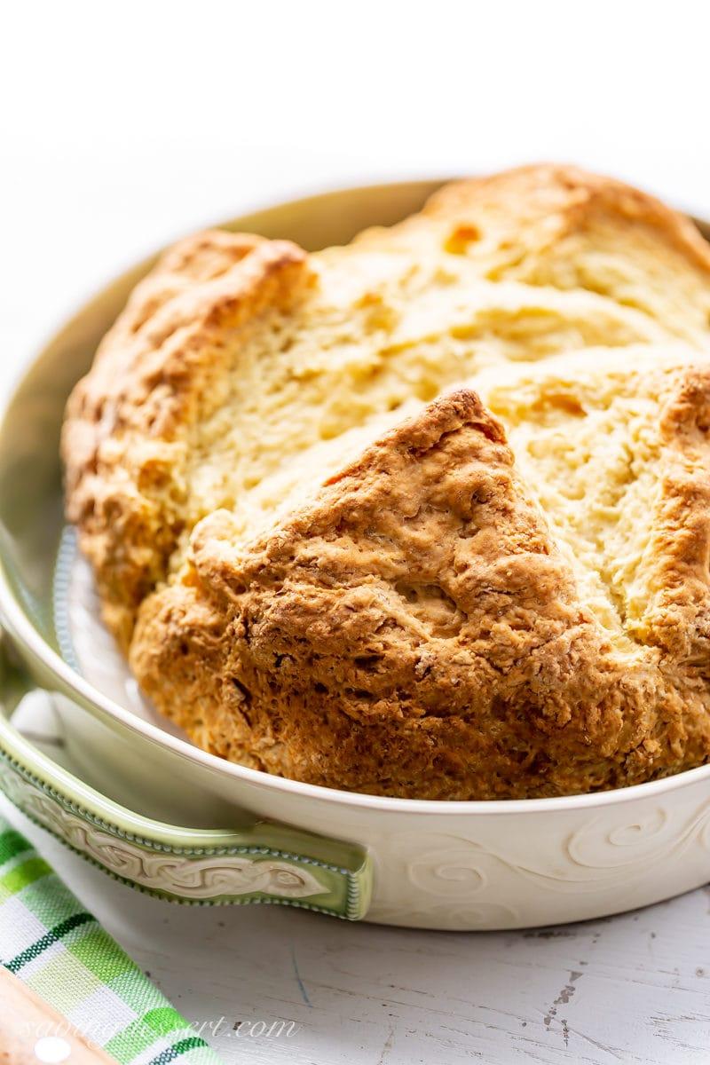 A loaf of golden brown Irish Soda Bread