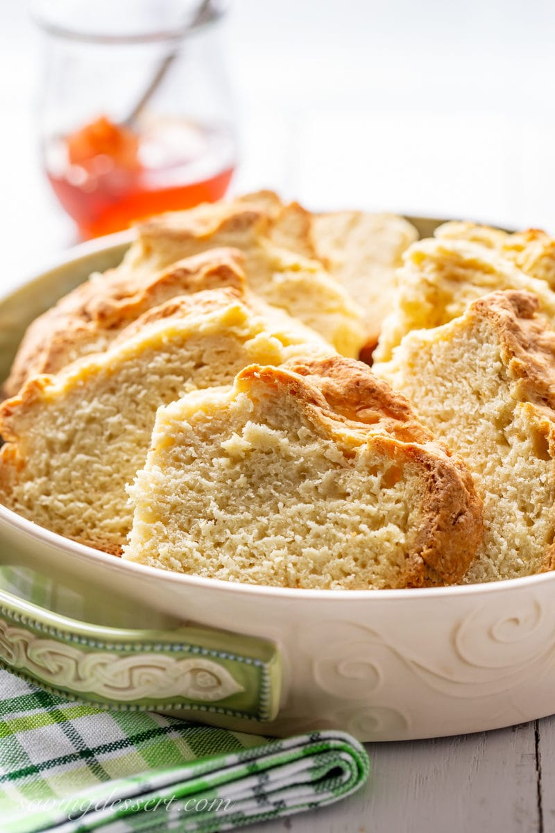 A dish of sliced Irish Soda Bread