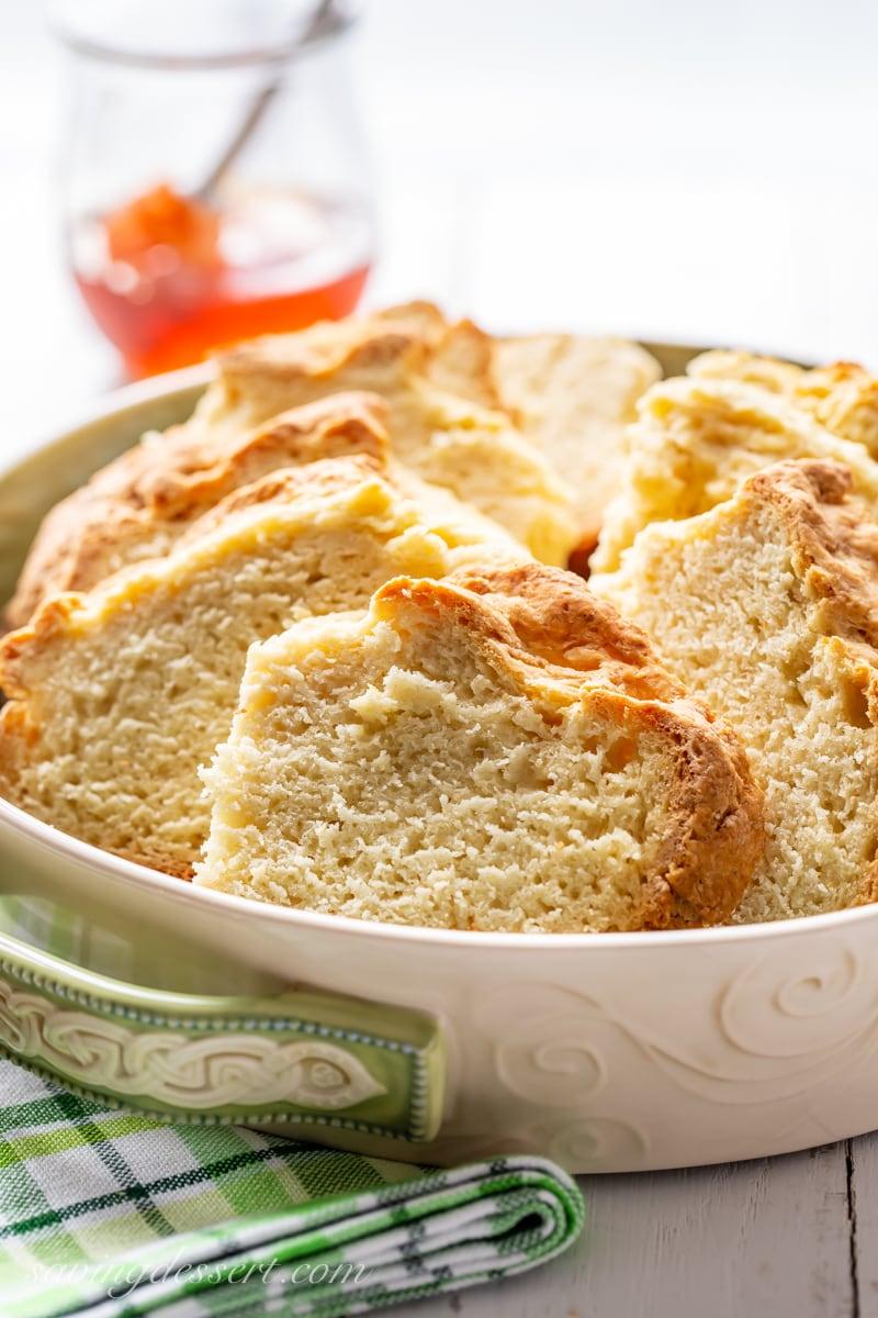Sliced Irish Soda Bread in a bowl