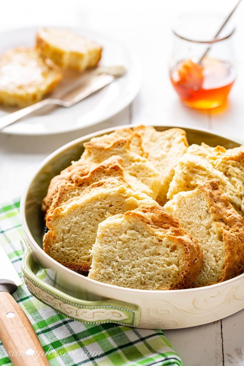 Sliced Irish Soda Bread with honey