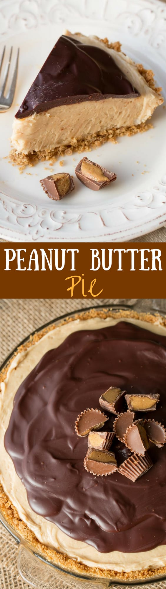Peanut Butter Pie - A rich and creamy peanut butter pie filling topped with smooth chocolate ganache. www.savingdessert.com
