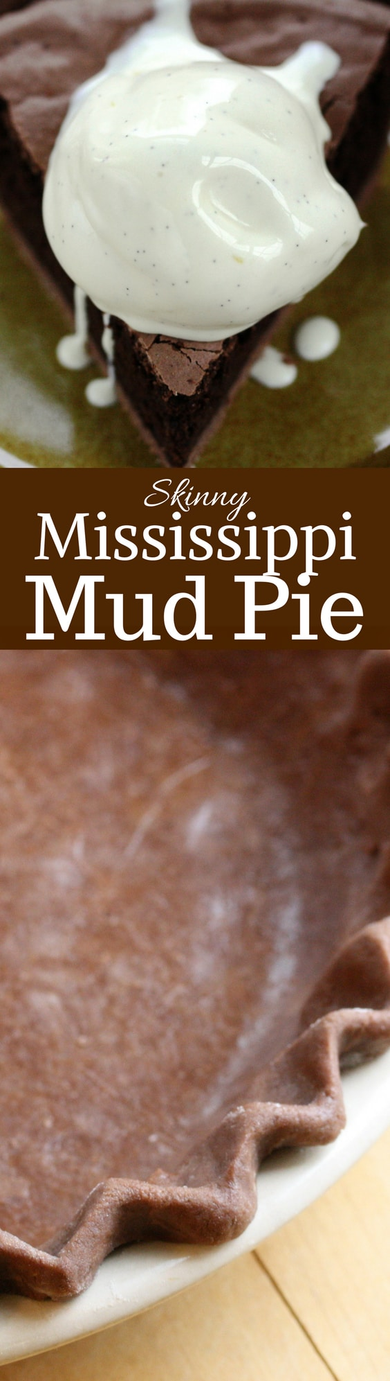 Skinny Mississippi Mud Pie - a deliciously light pie with a nice chocolate flavor, crunchy top and soft cake-light middle wrapped up in an easy chocolate crust www.savingdessert.com