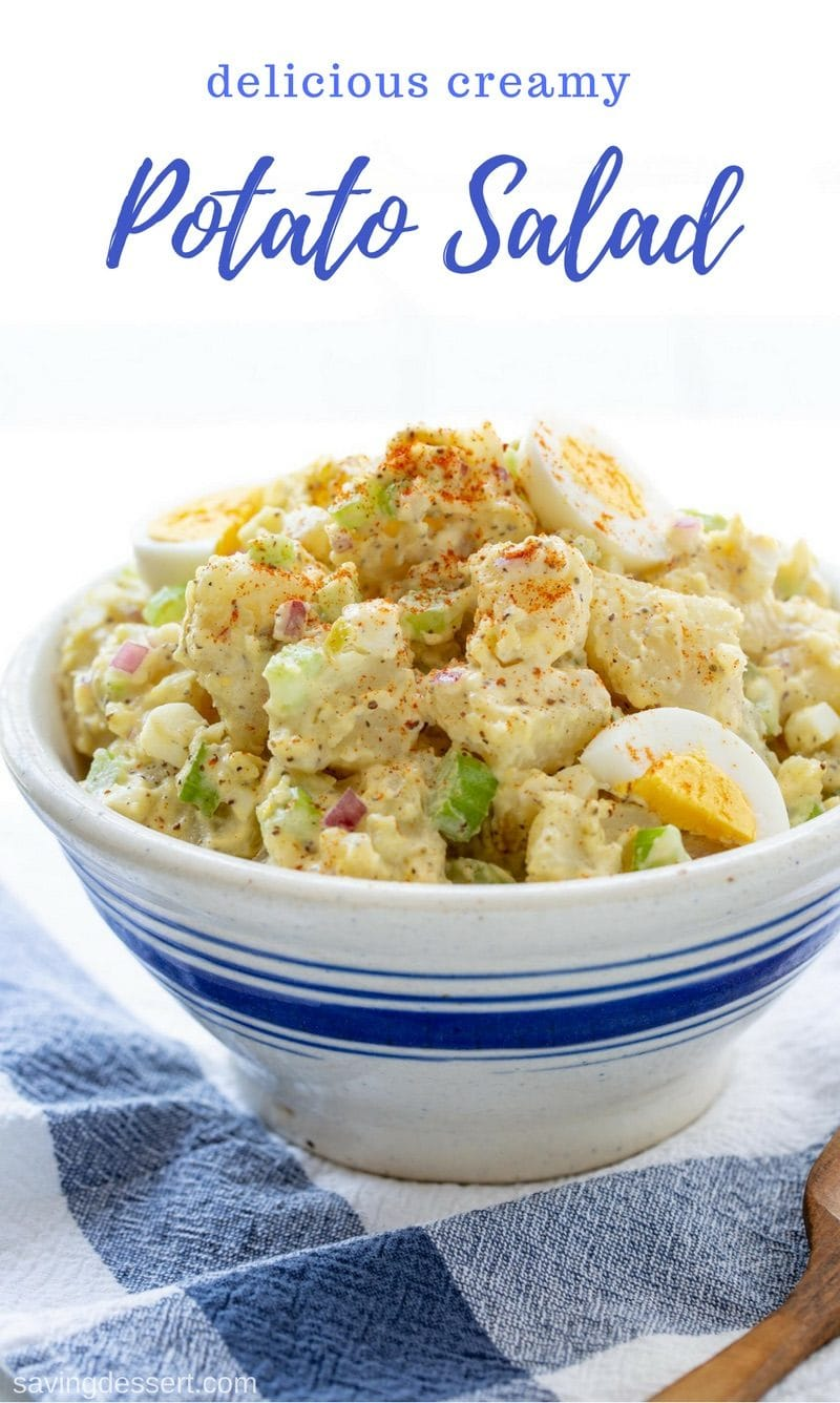 Creamy Potato Salad - an easy crowd pleaser perfect for BBQ's and potlucks, and always a family favorite! www.savingdessert.com #savingroomfordessert #potatosalad #summersalad #picnic #potato #creamypotatosalad #traditionalpotatosalad #southernpotatosalad