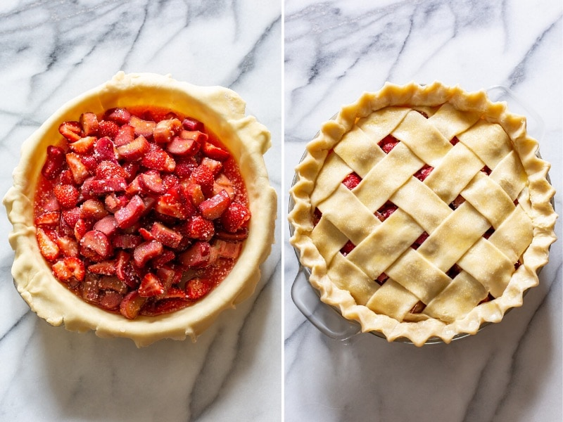 A collage of photos showing an unbaked strawberry rhubarb pie with fruit in a crust, the one topped with a lattice pastry