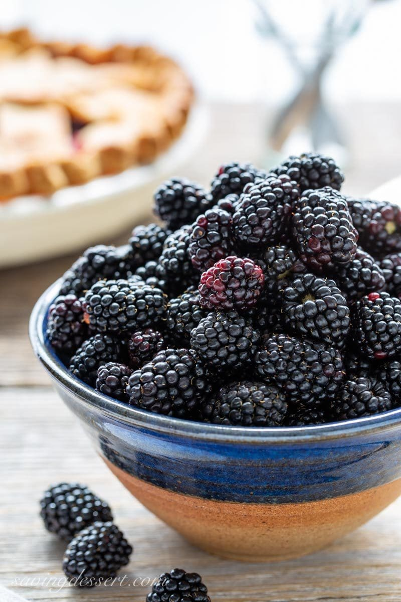a bowl of ripe blackberries
