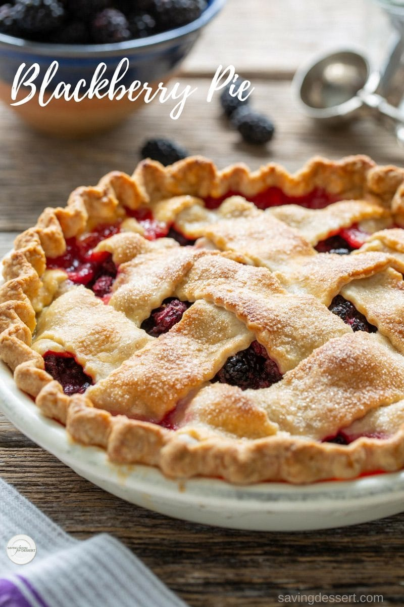 Homemade Blackberry Pie with a buttery, flaky crust and loaded with fresh juicy berries. Nothing says home like a hand crafted pie. #savingroomfordessert #homemadepie #pie #blackberrypie #summerpie #fruitpie #blackberries