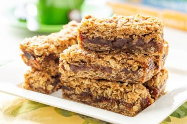 Closeup of a plate of date bar cookies