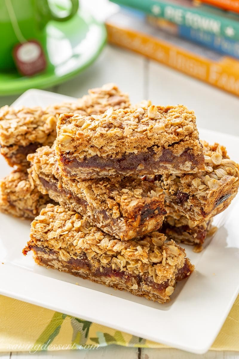 Date bars on a plate
