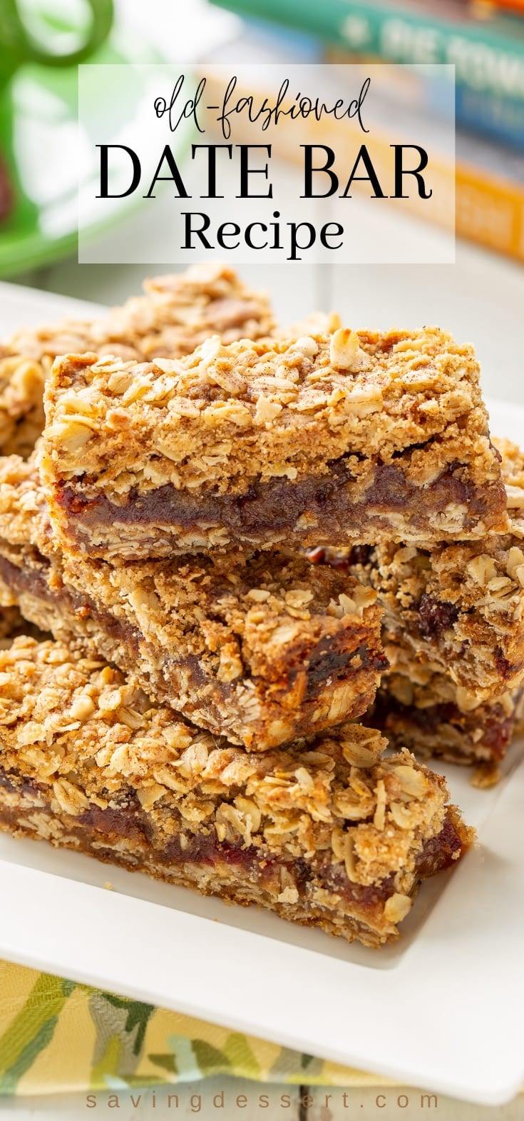 A stack of date and oat cookies on a plate