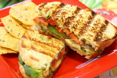 Tomato, pesto, avocado & cheese panini