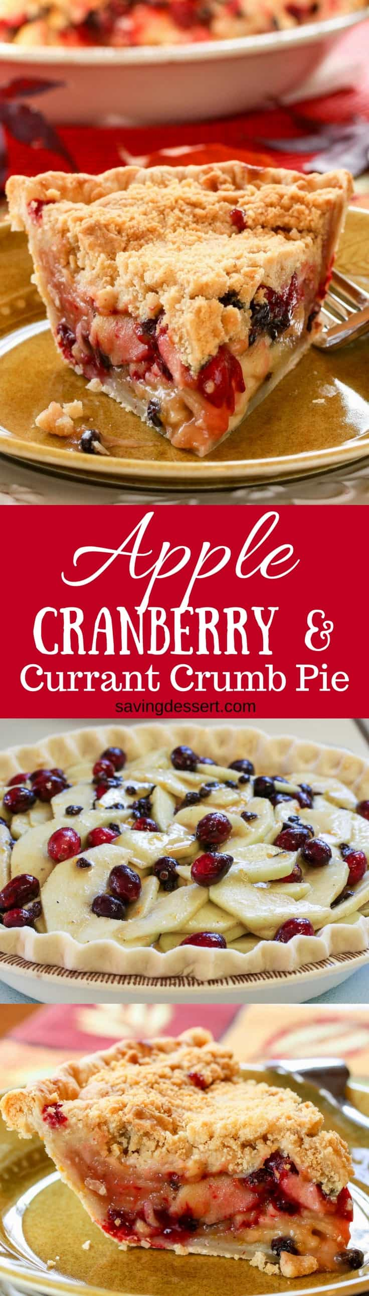 Apple, Cranberry & Currant Crumb Pie | www.savingdessert.com #pie #applepie #cranberry #Crumbpie