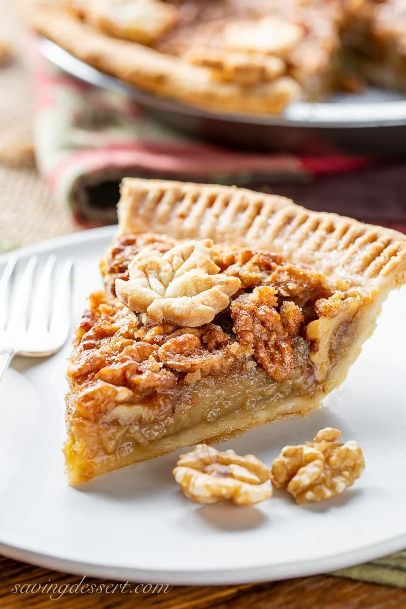 A slice of maple walnut pie