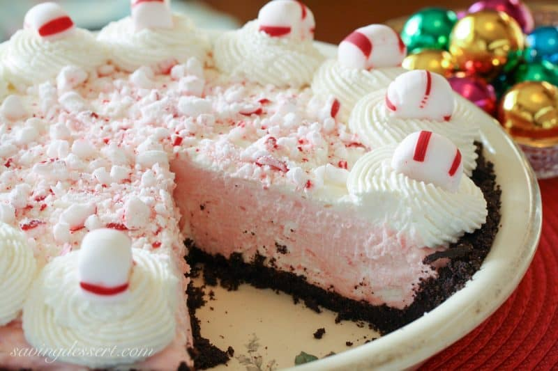 Peppermint Pie - light and fluffy and pretty too! www.savingdessert.com