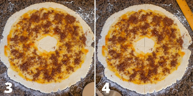 a collage showing cookie dough rolled into a circle then topped with apricot jam and a walnut cinnamon mixture
