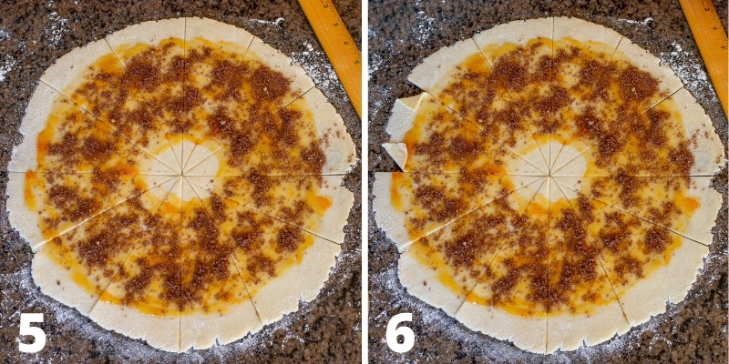 A collage showing cookie dough rolled into a circle then cut into wedges