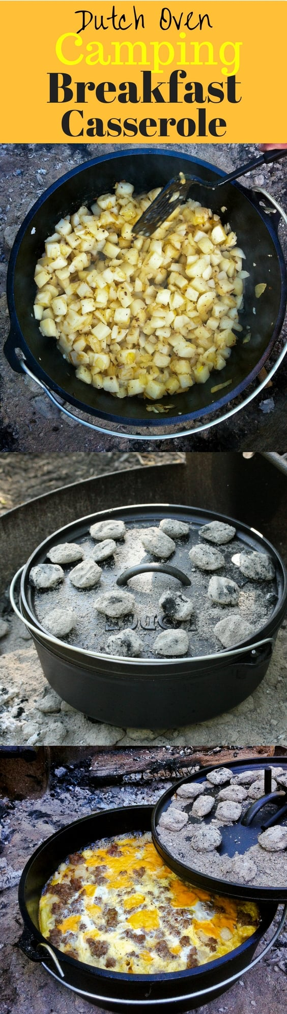 Mountain Man Breakfast Casserole - a hearty breakfast of sausage, potatoes, onions, cheese and eggs cooked in a LODGE Dutch Oven over hot coals. The perfect camping breakfast before a day of hiking, and enjoying the great outdoors! | www.savingdessert.com
