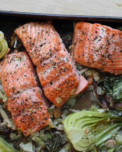 Salmon with Bok Choy, Cabbage & Shiitakes