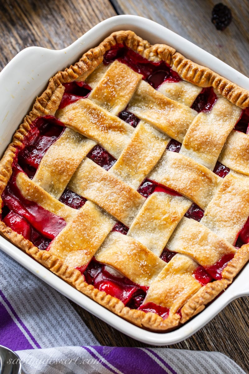 Blackberry cobbler with a golden brown lattice top