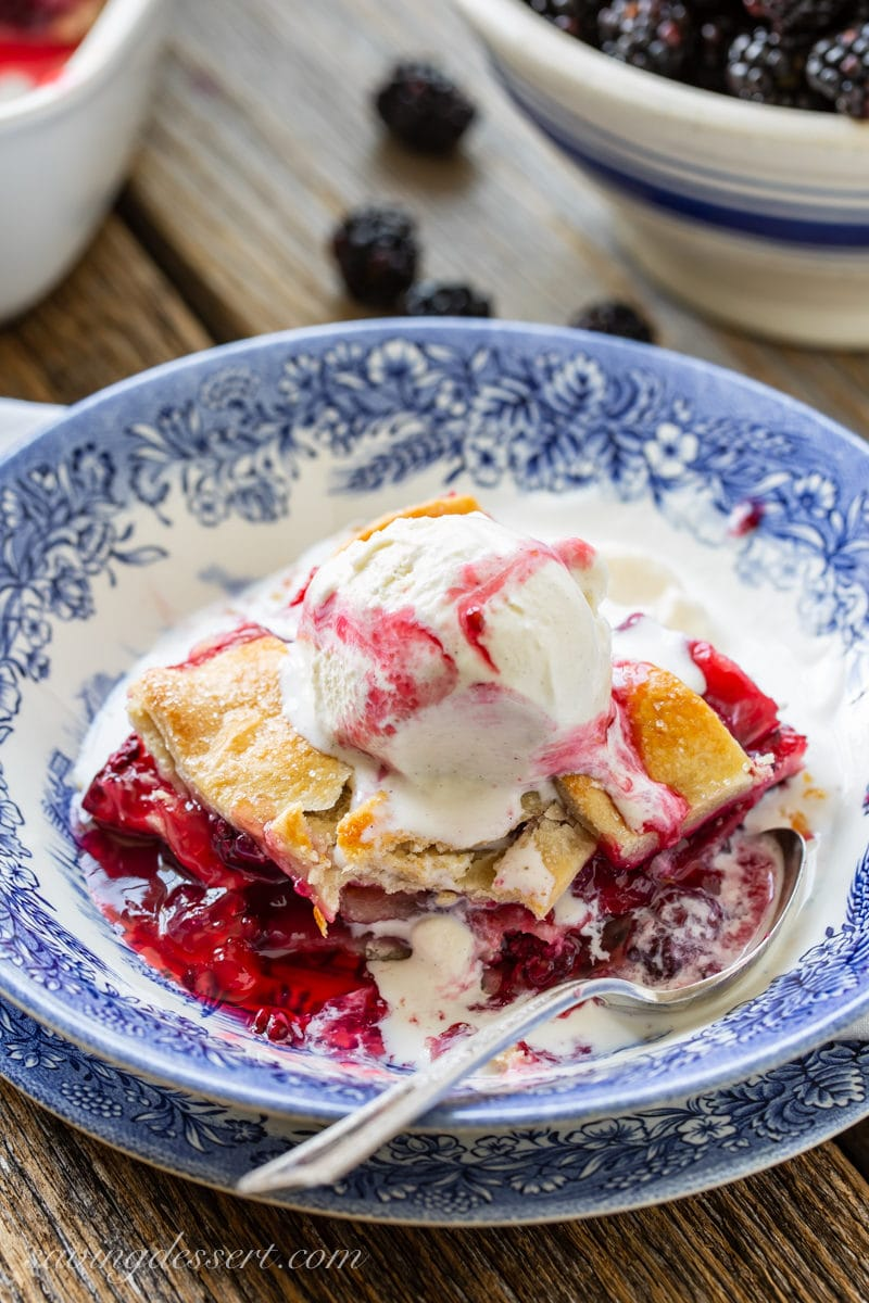 Blackberry cobbler with vanilla ice cream on top