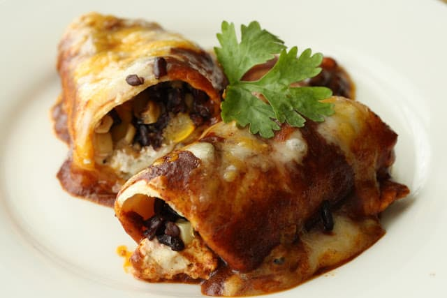 """Garden to table"" – Roasted Vegetable Enchiladas with chipotle sauce"