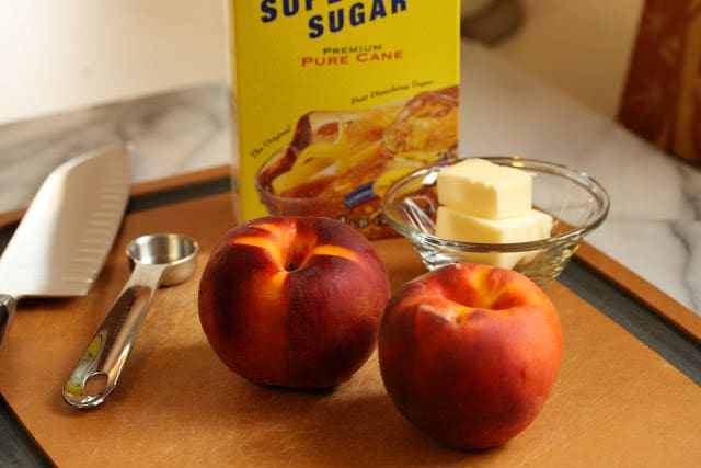 Peach brûlée with honey creme anglaise - Saving Room for Dessert