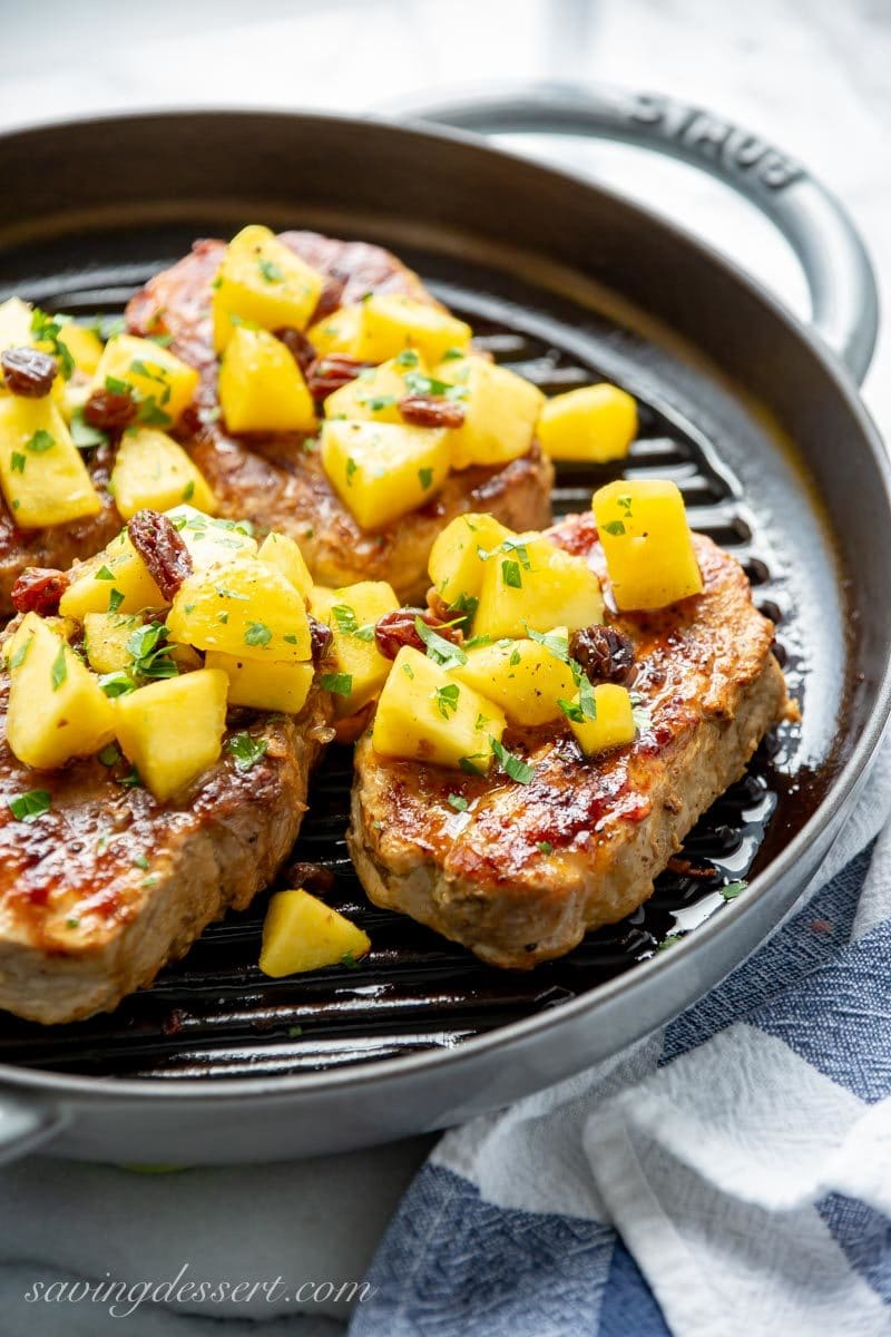 Grilled Pork Chops with Peach Agrodolce in a grill pan