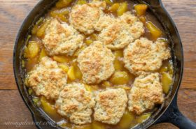 Old fashioned peach cobbler with shortcake crust