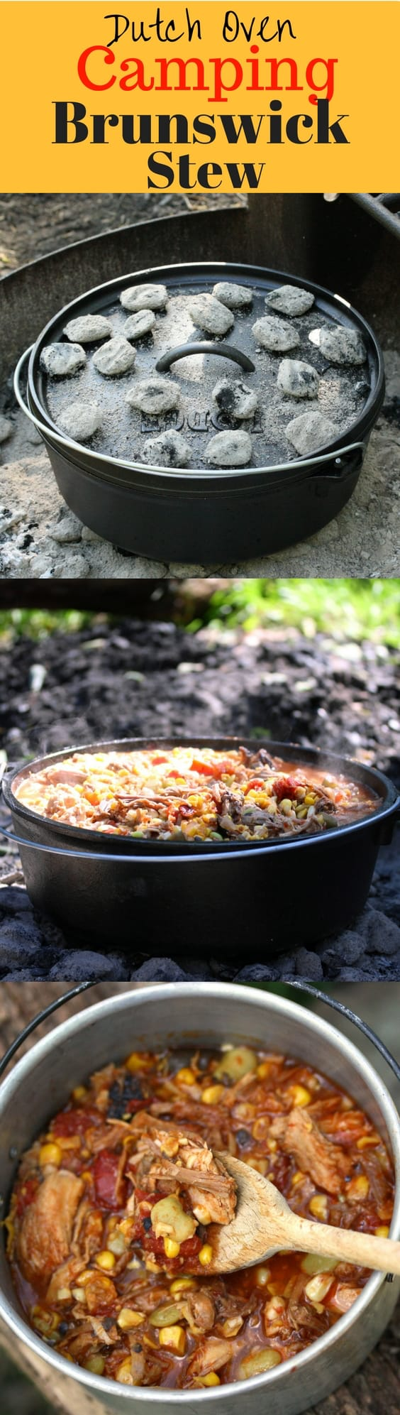 Brunswick Stew - a delicious tomato based stew containing lima beans, okra, corn and other vegetables, plus various types of smoked meats. Perfect cooked over hot coals in a Lodge Dutch Oven after a fun day hiking and enjoying the great outdoors! Perfect camping food! www.savingdessert.com