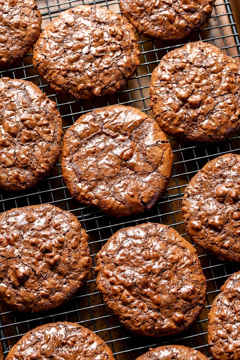 Chocolate Walnut Cookies on a cooling rack