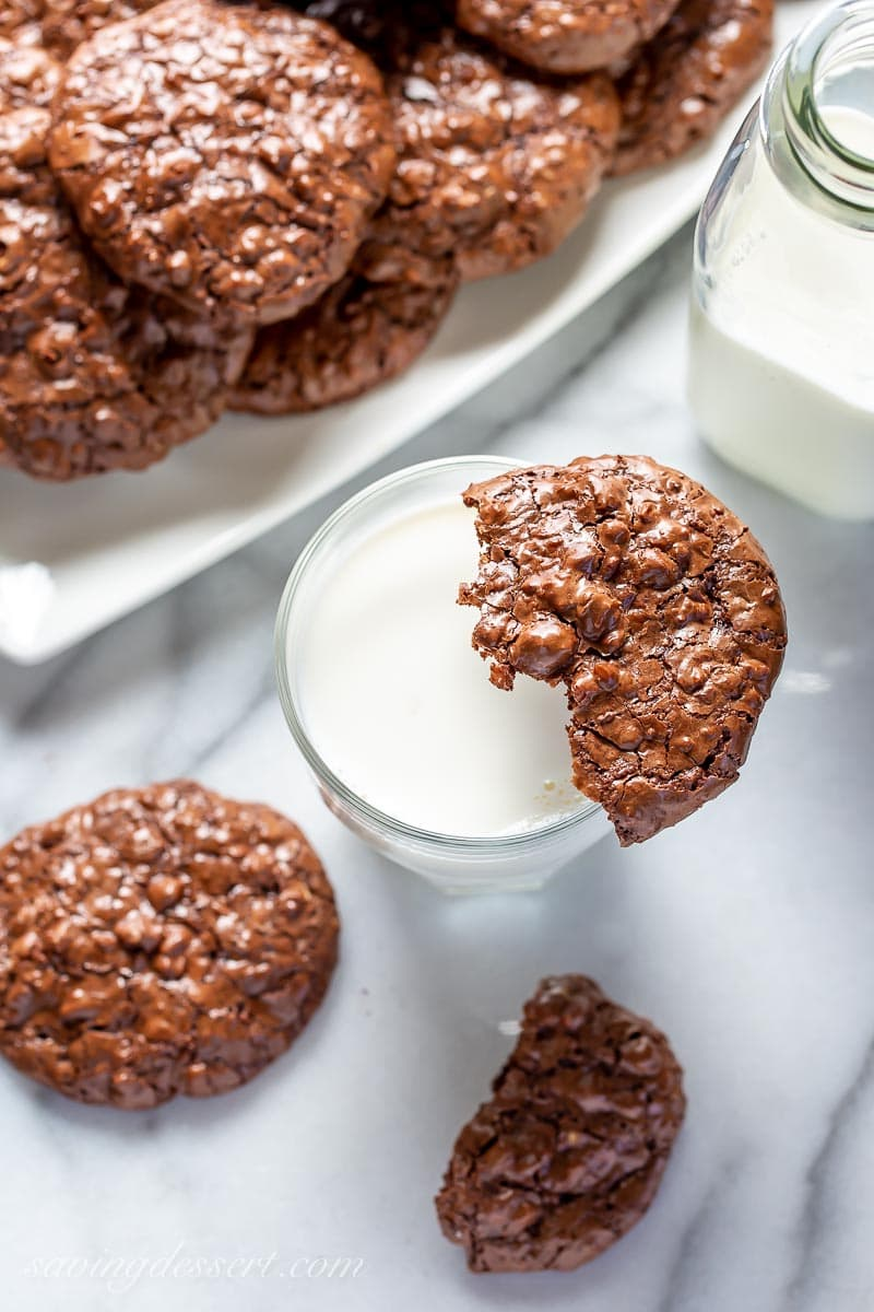 Chocolate Walnut Cookies with a glass of milk