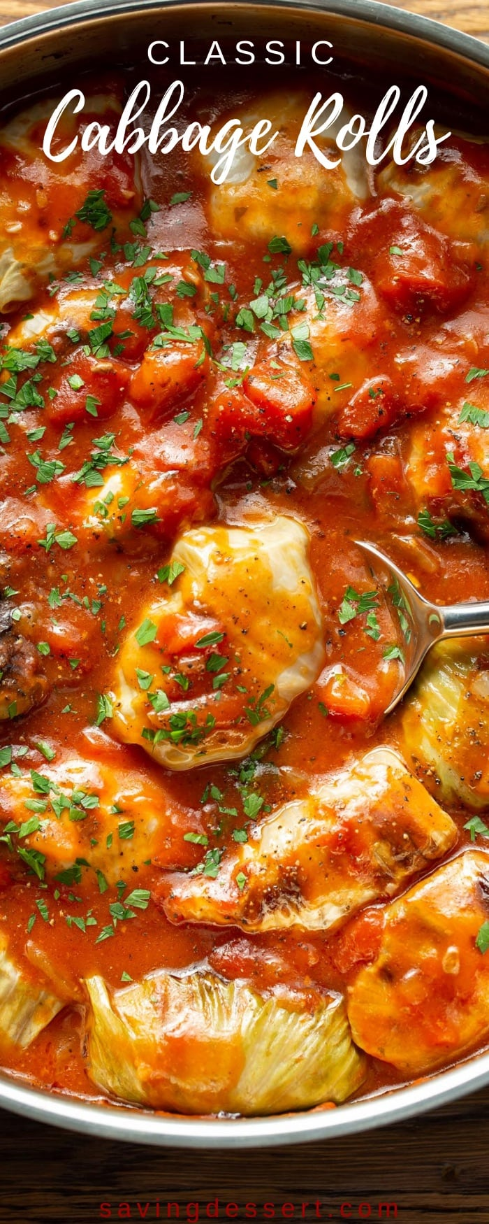 Classic Cabbage Rolls Recipe - with tender cabbage leaves stuffed with rice, seasoned ground beef and caramelized onions simmered in a rich tomato sauce that's a little sweet and a just a tad sour, for a lovely complex flavor and mild bite. #savingroomfordessert #cabbagerolls #classiccabbagerolls #cabbagerollsrecipe #groundbeef #cabbage #tomatosauce #dinner #comfortfood