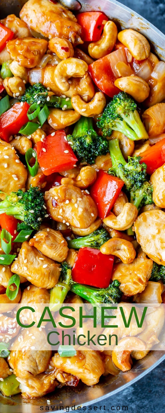 Honey Cashew Chicken - You'll love the sweet heat of this Asian inspired stir-fry loaded with tender chunks of chicken, red bell pepper, onions & tender broccoli. #savingroomfordessert #honeycashewchicken #cashewchicken #Asianstirfry #stirfry #chickenstirfry #chicken #Sriracha #cashew #dinner #weeknightmeal