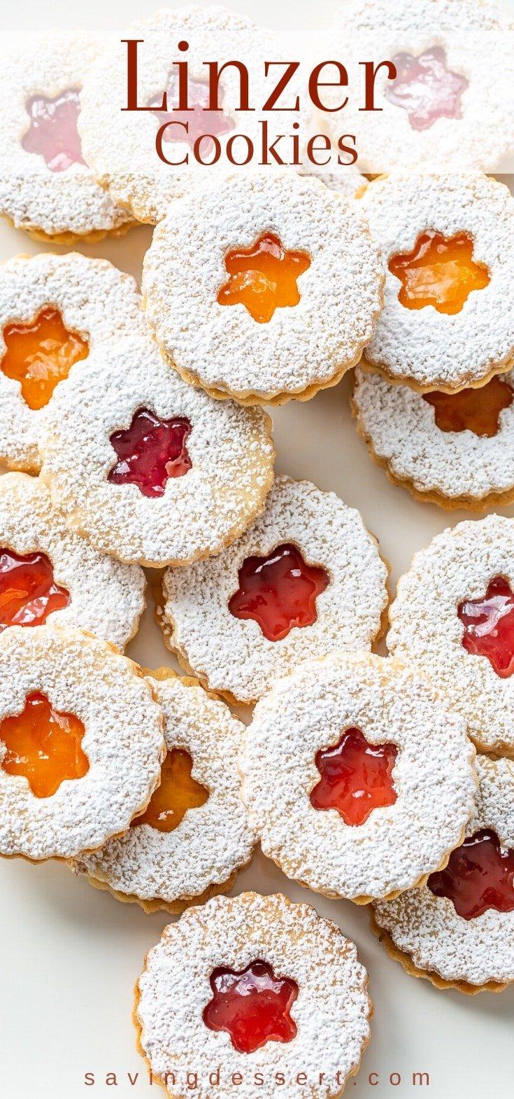 A platter of jam filled Linzer cookies