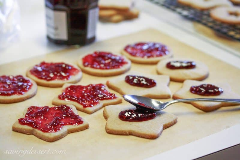 Old World Linzer Cookies with jam