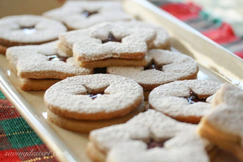 Old World Linzer Cookies on a plate