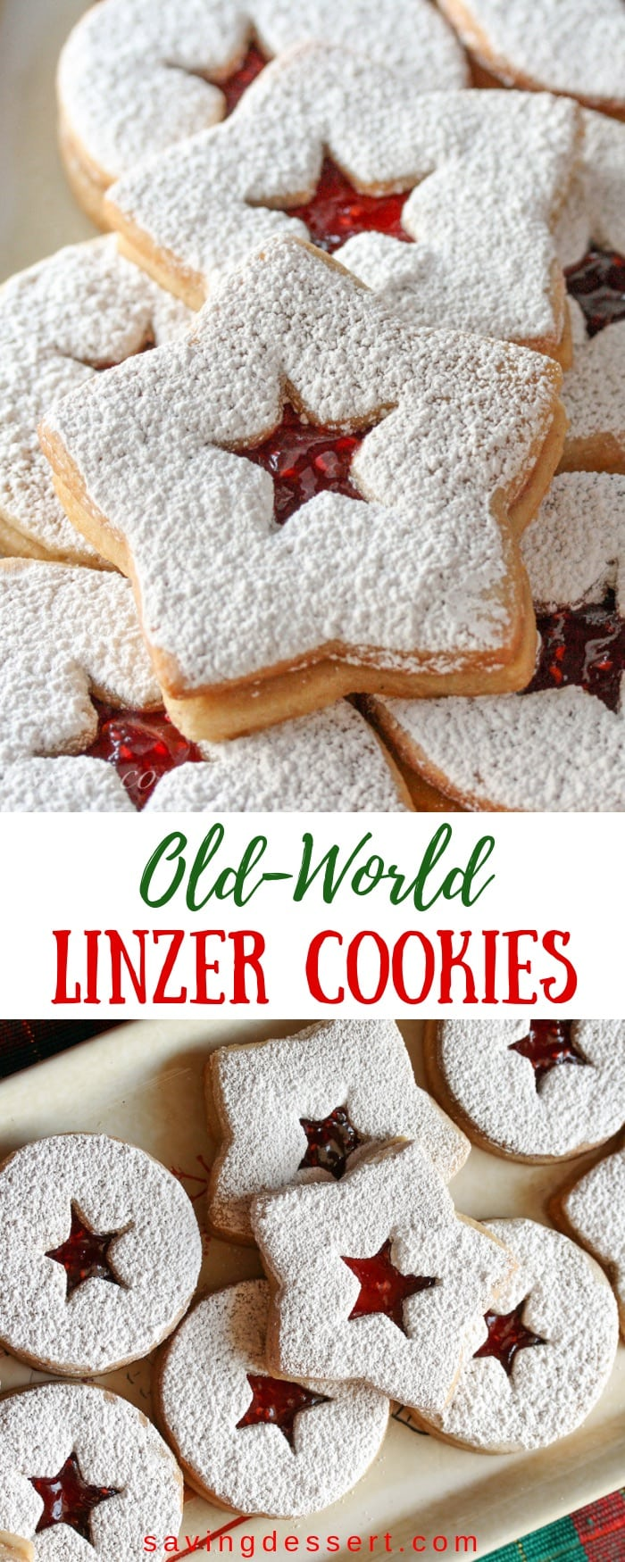 Old-World Linzer Cookies - a lovely little butter cookie with hints of cinnamon and lightly sweetened with jam. The perfect holiday treat! #savingroomfordessert #linzercookies #holidaycookies #Christmascookies #linzer #oldworldlinzer #holidaybaking