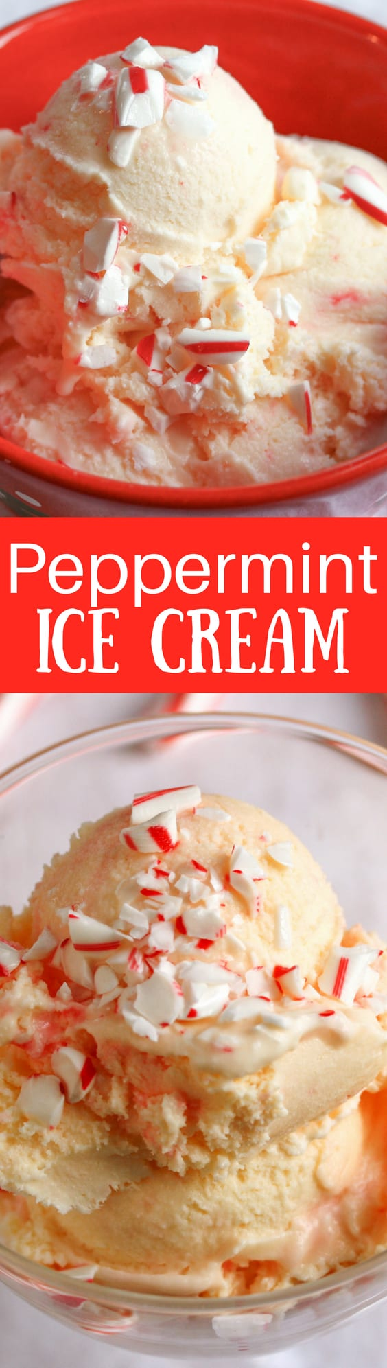 Peppermint Ice Cream - a wonderful combination of bright, cool peppermint and a creamy vanilla base for a tasty holiday frozen treat.  www.savingdessert.com