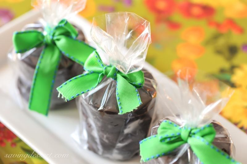 homemade thin mint cookies wrapped up with a bow in a clear plastic bag
