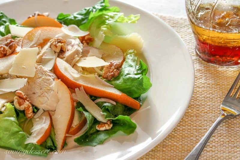 Wine Poached Chicken, Pears & Walnut Salad