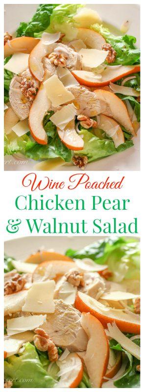 Wine Poached Chicken, Pear & Walnut Salad